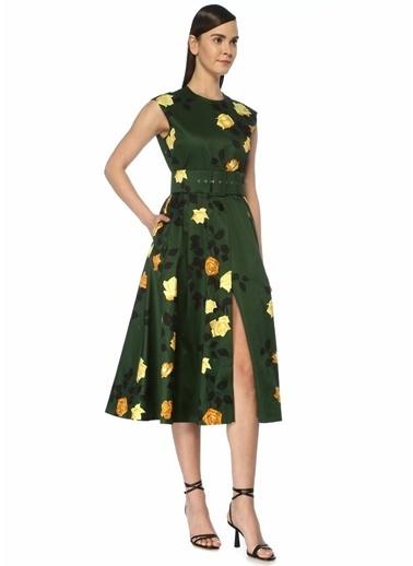 MSGM MSGM  Çiçekli Beli Kemerli Kolsuz Midi Elbise 101496856 Haki